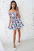 Цветочное хлопковое платье с открытыми плечами