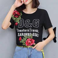 Женская футболка в стиле D&G с пайетками Esaranno Gual черная 42-44, фото 1