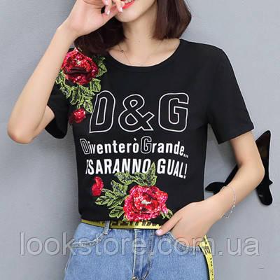 Женская футболка в стиле D&G с пайетками Esaranno Gual черная 42-44