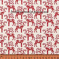 Ткань для пэчворка - Олени, Красный, Скандинавское Рождество, Новый Год и Рождество