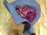 Льняная летняя женская шляпка  цвет джинс