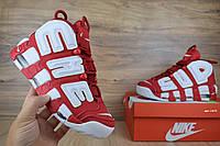 Мужские кроссовки Nike Air  More Uptempo x Supreme красные