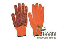 Перчатки х/б оранжевые, односторонние (упак. 12 пар)