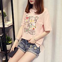 Женская свободная футболка Forest розовая 44-46
