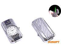 SALE! Зажигалка карманная с часами (Турбо пламя) №T 4053 Серебро