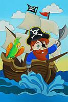 Полотно на картоні з контуром, Мультфільм №31, «Пірат на кораблі», 20*30, бавовна, акрил, ROSA KIDS