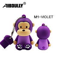 Флешка 32Гб USB flash 32Gb Обезьянка фиолетовая