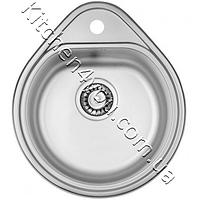 Круглая кухонная мойка Fabiano 500x440 (0.8 мм.) нержавеющая сталь, сатин, фото 1