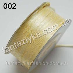 Лента атласная 0,3 см для вышивки, кремовая 002