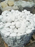 Белая мраморная галька Тассос Греция, 40-80мм.