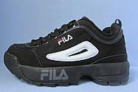 Кроссовки женские Fila (реплика) 213-1 черные код 0225А