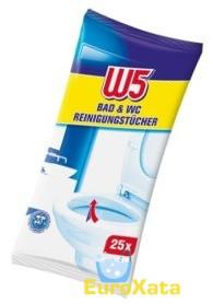Влажные салфетки для уборки ванной и туалета W5 BAD & WC 25шт