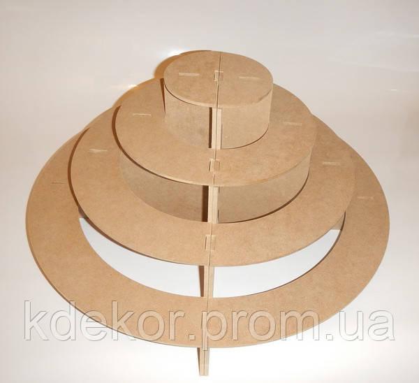 Підставка 4-х ярусне (з 2 частин) для капкейків, кексів, цукерок заготівля для декору