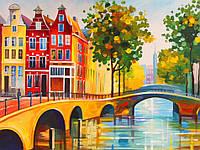 """Полотно на картоні з контуром, Міста """"Амстердам"""", 30*40, бавовна, акрил, ROSA START"""