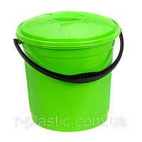 Ведро + крышка цветное 10 л зеленый