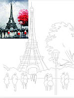 """Полотно на картоні з контуром, Міста, """"Париж 2"""", 30*40, бавовна, акрил, ROSA START"""
