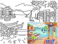 Полотно на картоні з контуром, Морські пейзажі №3, 30*40, бавовна, акрил, ROSA START