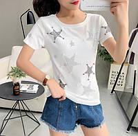 Женская футболка со звездами белая, фото 1