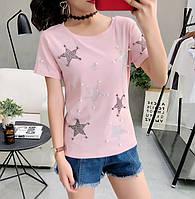 Женская футболка со звездами розовая XL, фото 1