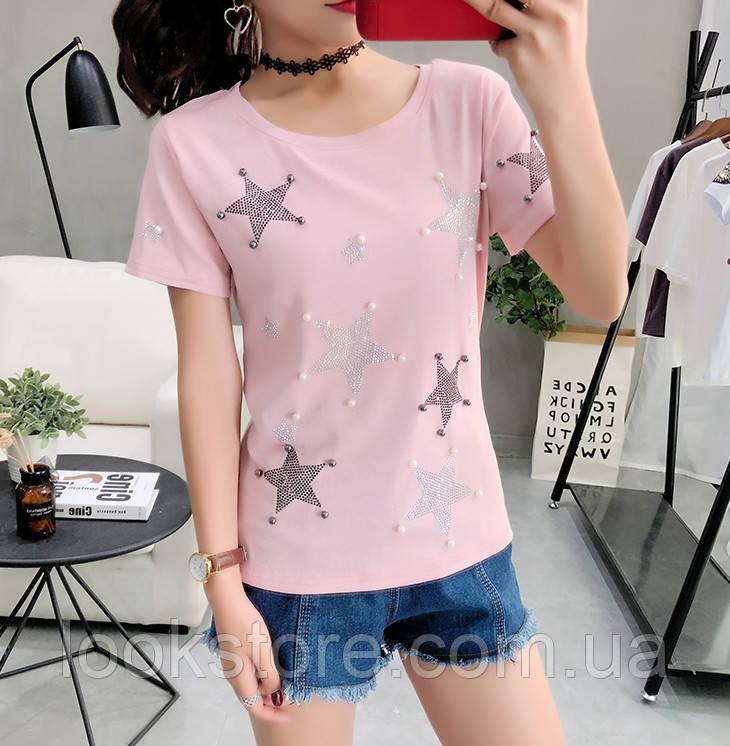 Женская футболка со звездами розовая XL