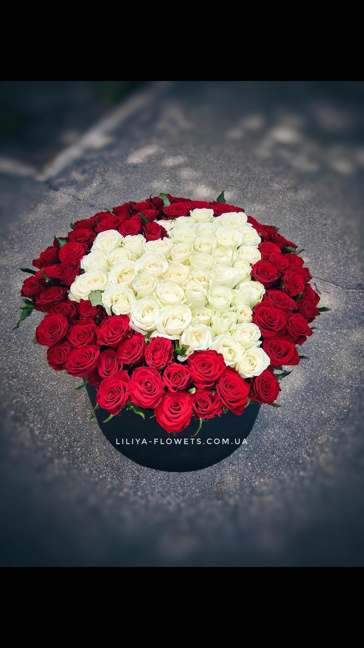 """101 роза в коробке """"Пламенное сердце"""""""