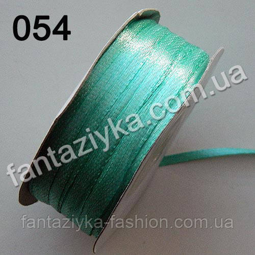 Лента атласная 0,3 см для вышивки, аквамариновая 054