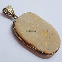 Кулон из кварца 38*37*7 мм, друз из натурального камня, подвеска, украшение, медальон, персиковый с белым, заказ делайте через сайт в описание товара