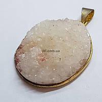 Кулон из кварца 38*31*14 мм, друз из натурального камня, подвеска, украшение, медальон, розовый с белым, заказ делайте через сайт в описание товара
