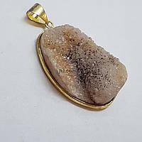 Кулон из кварца 40*22*12 мм, друз из натурального камня, подвеска, украшение, медальон, фиолетовый с белым, заказ делайте через сайт в описание товара