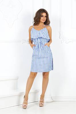 Платье льняное на лямках талия на кулиске грудь волан с карманами по бокам
