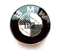 Эмблема BMW ч/б на штифте (d- 83мм, s(толщина)-7мм+6мм штифт)