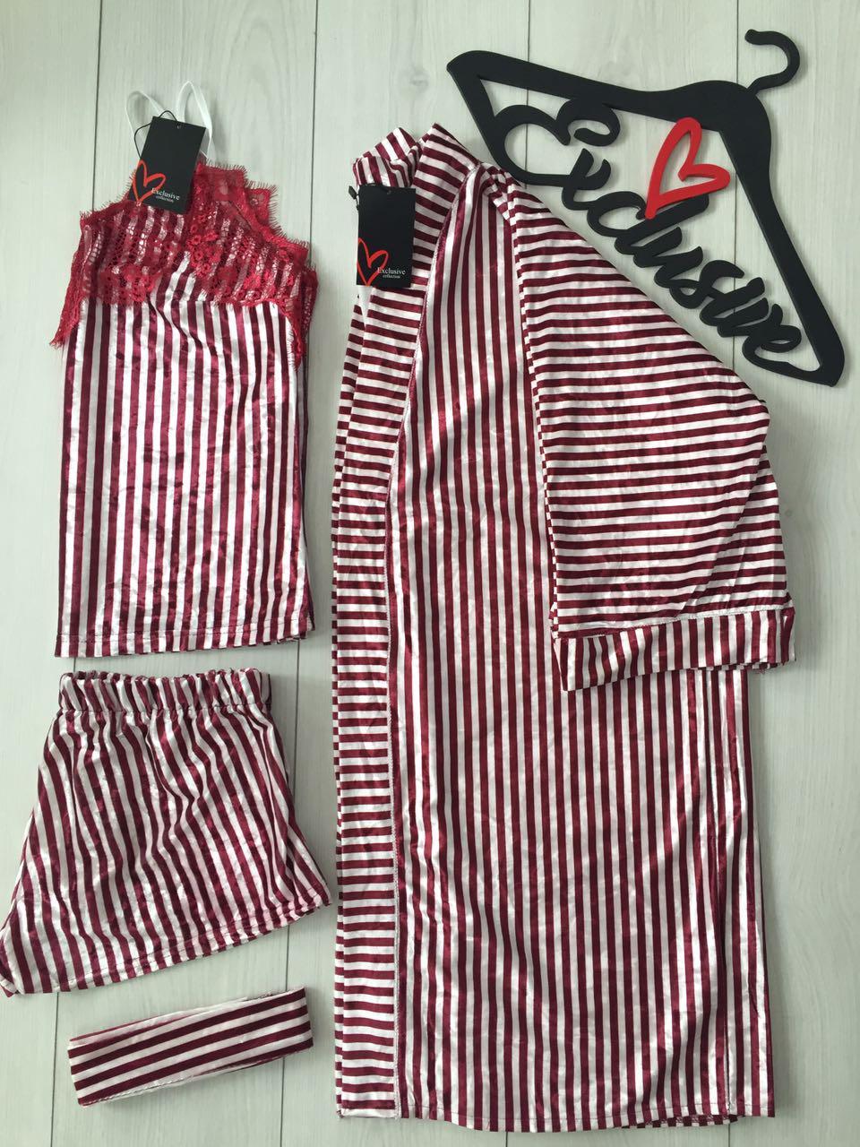 Женская одежда для дома и сна: халат+майка с шортами -комплект