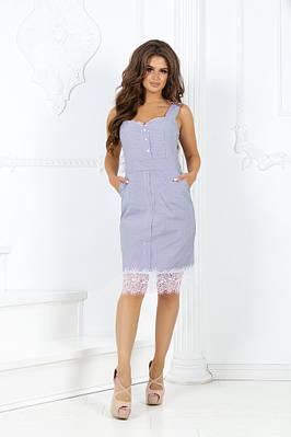 Платье коттоновое с принтом полоски с кружевом на груди и по низу