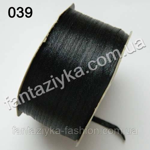 Лента атласная 0,3 см для вышивки, черная 039
