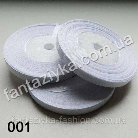 Лента атласная тонкая 0,6 см, белая 001