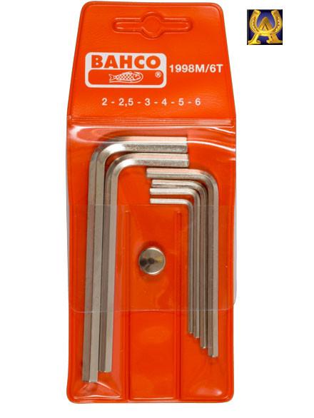 Набор никелированных шестигранников 6 ед., Bahco 1998M/6T