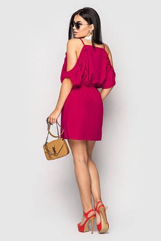 Плаття літнє жіноче з відкритими плечима Nikol малиновий  розмір 42,44,46, фото 2