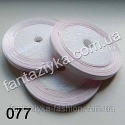 Лента атласная тонкая 0,6 см, бело-розовая 077