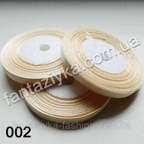 Лента атласная тонкая 0,6 см, кремовая 002