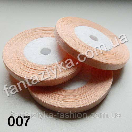 Лента атласная тонкая 0,6 см, светло-персиковая 007