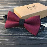 Галстук-бабочка I&M Craft классический бордовый с черной серединкой (010602)