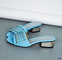 35, 36 размер Босоножки-шлепки женские  с декором,натуральный велюр голубой