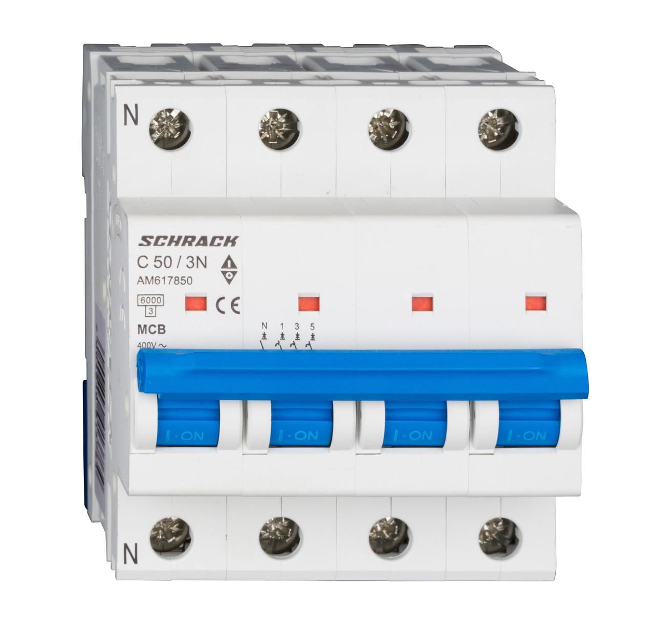Автоматический выключатель со встроенной нейтралью 6кА 3P+N 50А х-ка C Schrack