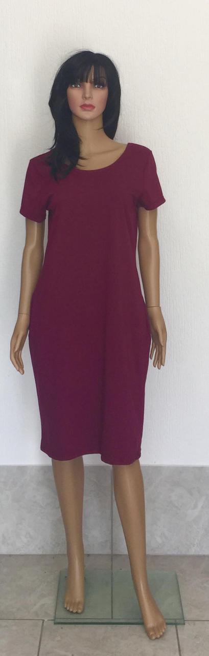 Трикотажное однотонное летние платье