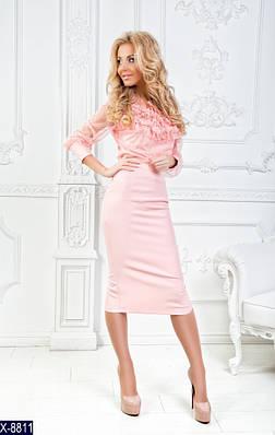 Женский красивый летний костюм с миди юбкой