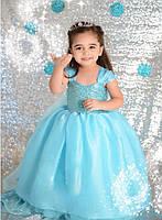 Платье для девочки.Новогодний костюм.Новогоднее платье. Голубой