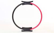 Кільце для пілатесу FI-6399 (метал, EVA, d-38см, рожевий-чорний), фото 3