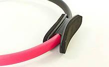Кільце для пілатесу FI-6399 (метал, EVA, d-38см, рожевий-чорний), фото 2