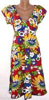 Летнее платье с V-образным вырезом и завышенной талией 48-50