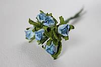 Бумажные бутончики розы 5 шт/уп. на ножке с листиками голубого цвета, фото 1
